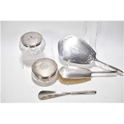 Five piece Birks sterling dresser set including bevelled hand mirror, hair brush, shoe horn, hand cu