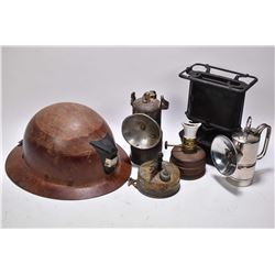 Selection of mining collectibles including helmet, lantern etc. plus a Game Junior portable stove ma