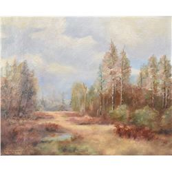 "Gilt framed oil on canvas painting of a Canadian landscape signed by artist Gordon Sinclair, 14"" X 1"