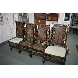 Set of eight matching antique walnut Charles II dining chairs with twist decorative back supports an