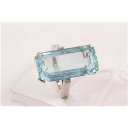 Ladies 14kt white gold and emerald cut 8.00ct aquamarine gemstone ring. Retail replacement value $2,