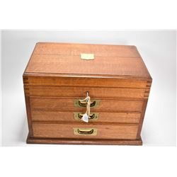 Antique quarter cut oak custom flatware chest with lidded top and three fitted drawers containing tw