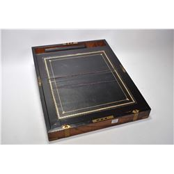 Antique rosewood writing slope with leather writing surface and assorted compartments and brass inse