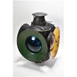 Vintage Railway signalling oil lamp with coloured glass lenses plus a spare glass amber lens and spa