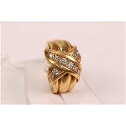 Tiffany & Co. 18kt yellow gold and diamond ring set with 0.42ct of round cut white diamonds. Retail