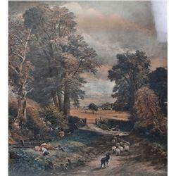 "Antique heavy gilt framed print of John Constable's ""The Cornfields"""