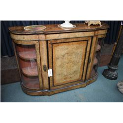 Antique burled walnut bombe style curved glass cabinet with inlaid banding and attached ormolu decor
