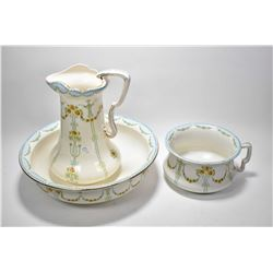 Transferware wash bowl, a water jug and a commode made in England by Kensington