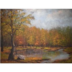 "Framed oil on board painting of an autumn creek scene signed by artist, 24"" X 30"""
