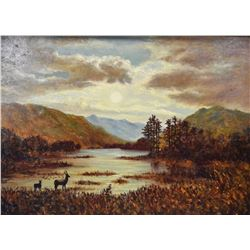 Gilt framed oil on canvas painting of moody landscape with wildlife in the style of artist and signe