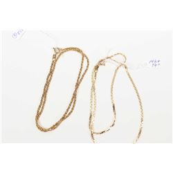 "Two gold neck chains including 10kt yellow gold 17"" chain and a 18kt yellow gold 16"" neck chain"