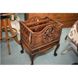 Antique mahogany canterbury with ball and claw feet, single drawer and fretwork cameos
