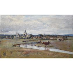 Framed antique oil on canvas painting of an Eastern European rural scene with livestock signed by ar