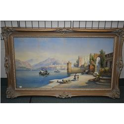 Antique framed original watercolour painting of an Italian coastal scene with figures and architectu