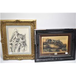 Shadow box framed cast of Edinburgh Castle and the National Gallery and a gilt framed Dutch pencil d