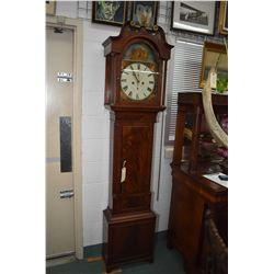 Antique mahogany long cased clock with hand painted face and dial featuring George III, William IV a