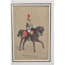 "Two framed military prints including hand enhanced oil print ""Royal Horse Guards, 1886"" and print ma"