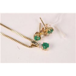 "Ladies 10kt yellow 18"" box chain with emerald and diamond pendant plus a pair of 10kt yellow gold ea"
