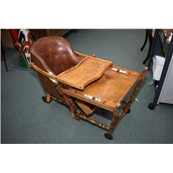 Antique convertible high chair/low chair/walker with leather upholstered button tufted seat