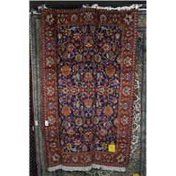 "Brand new Iranian Tabriz area carpet with blue background, accents of red gold and cream etc. 52"" X"