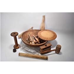 Selection of primitives including wooden dough bowl, butter molds, spool, mallets, rollers etc. plus