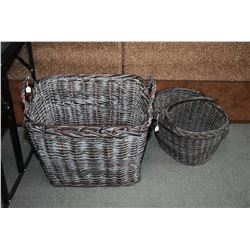 Two large woven baskets