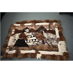 "Vintage patchwork pieced hide with various furs, 52"" X 67"""