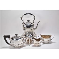 Vintage silverplate tea service with spirit kettle, tea pot, cream and large sugar bowl