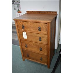 Small antique quarter cut oak four drawer bedroom chest with original cast drop pulls