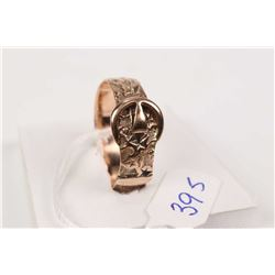 Antique British 9kt rose gold Victorian buckle ring