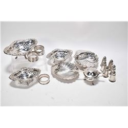 Selection of sterling silver including three pierced dishes, two shell shaped dishes with British ha