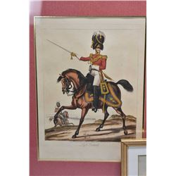 "Selection of four military themed prints including three hand coloured ""Life Guards"", ""2nd Regiment"