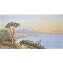 "Pair of antique gilt framed original watercolour paintings titled ""The Bay of Naples"" on front and v"