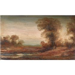 "Antique gilt framed oil on board painting of a rural landscape, no artist signature seen, 6"" X 9"""