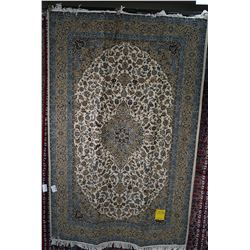 100% hand made Iranian wool blend carpet with center medallion, cream background in shades of blue,