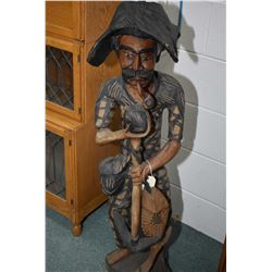 "Hand carved ethnic fisherman figure 42"" in height"