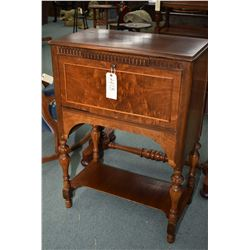 Antique floor standing walnut RCA Victor audio cabinet professionally converted to drop front desk,