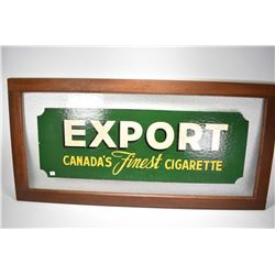 "Framed Export Canada's Finest Cigarette advertisement on glass, overall dimensions 24"" X 50"""