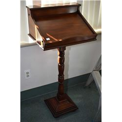 Vintage center pedestal standing height lectern with flip up storage