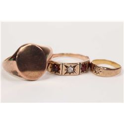 Three vintage gold rings including 9ct rose gold rings set with garnets and old cut diamond, a 10kt