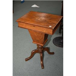 Antique Sheraton sewing table with inlaid banding and top panel with original multiple compartment f