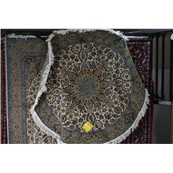 Brand new 100% wool blend Iranian Nain round carpet with cream and taupe background, accented in blu