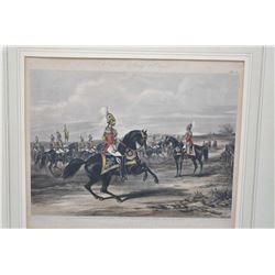 "Two military themed hand coloured etchings including ""The Tenth in India, Kirkee 1854"" and ""1st Life"