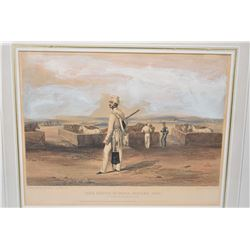 "Two military themed hand coloured etchings including "" The Tenth Indian, Kirkee 1854- In Front of th"