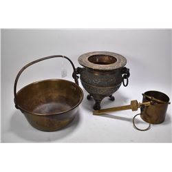 Selection of brass and copper including footed double handled jardinere, a brass Fairbanks 1 quart b