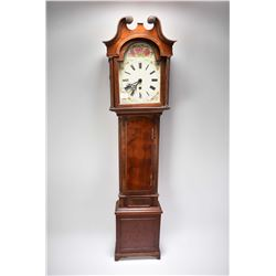 Antique mahogany diminutive long cased clock with hand painted face and Roman numerals, can be hung