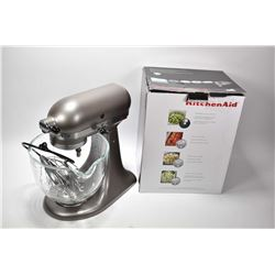 Kitchen Aid 320 Watt , five quart stand mixer with glass bowl and box of food processor attachments