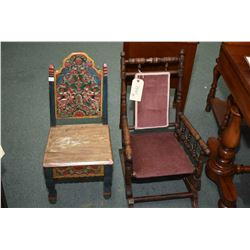 Child's antique platform rocking chair and a heavily carved painted child's chair