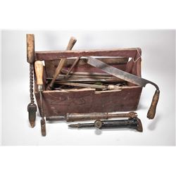 Wooden tool caddy and contents including Smith & Hemenway nail puller, soldiering irons, files, Just