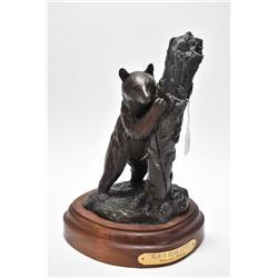 "Bronze ""Black Bear Stare"" by Clarence Kriaski 11"" high including wooden base 6/13"